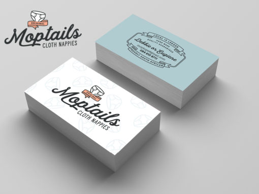 Moptails logo and business card